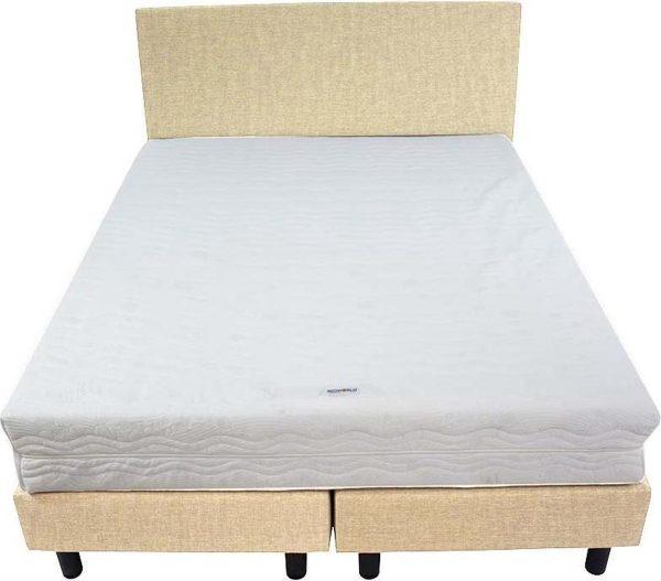 Bedworld Boxspring 140x220 - Stevig - Velours - Beige (ML02)