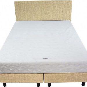Bedworld Boxspring 140x220 - Stevig - Velours - Donker beige (ML04)