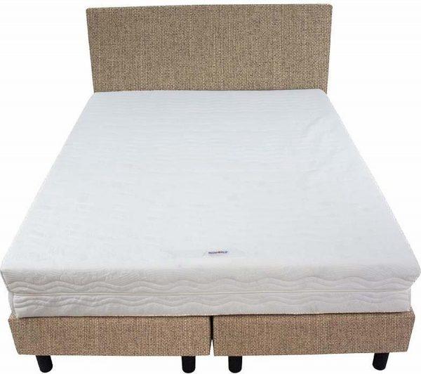Bedworld Boxspring 140x220 - Stevig - Waterafstotend fijn - Donker beige (MV09)