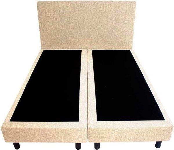 Bedworld Boxspring 160x220 - Geveerd - Lederlook - Beige (MD912)