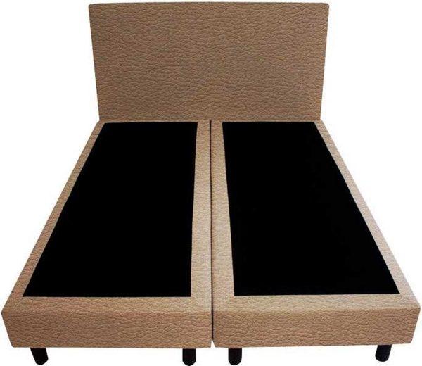 Bedworld Boxspring 160x220 - Geveerd - Lederlook - Donker beige (MD923)