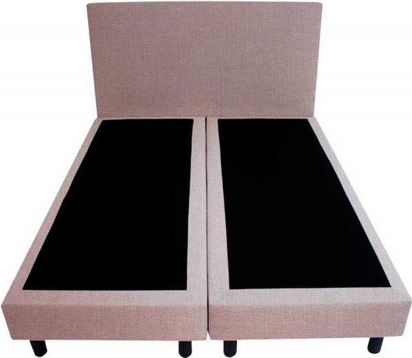 Bedworld Boxspring 160x220 - Geveerd - Linnenlook - Zilvergrijs (S84)