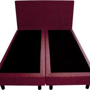 Bedworld Boxspring 160x220 - Geveerd - Velours - Bordeaux rood (ML59)
