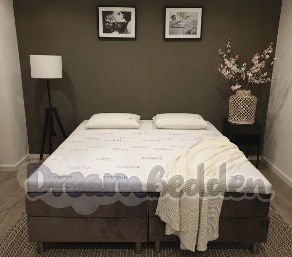 Boxspring 140x220 Alicante Incl. meegestoffeerde pocketvering matrassen en Bamboo Exclusive Koudschuim Topper. (zonder Hoofdbord)