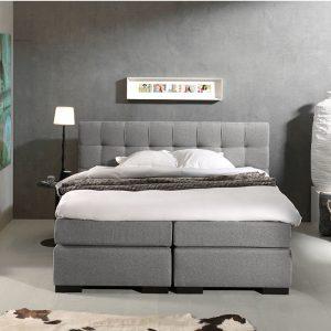 DreamHouse Bedding Boxspringset Barcelona 140 x 200 cm, Stof + Kleur: Stof Made: Lichtgrijs