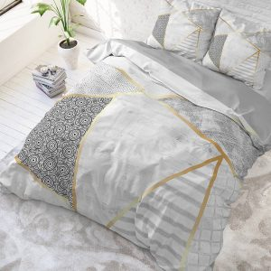 DreamHouse Bedding Graphic - Wit 1-persoons (140 x 220 cm + 1 kussensloop) Dekbedovertrek