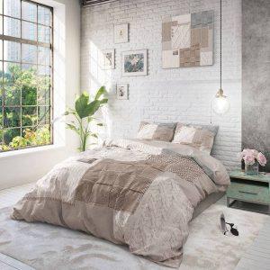 DreamHouse Bedding Knitted Home - Taupe 1-persoons (140 x 220 cm + 1 kussensloop) Dekbedovertrek