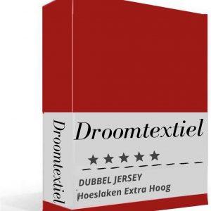 Droomtextiel - Dubbel Jersey - Hoeslakens - Rood - Eenpersoons- 80x200 cm - Hoge Hoek - 220 gr/m2 - 100% Hoogwaardige Gebreid Katoen - Rondom Elastiek - Super Zacht - Strijkvrij -