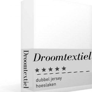 Droomtextiel - Dubbel Jersey - Hoeslakens - Wit - Eenpersoons- 80 x 200 cm - Hoge Hoek - 220 gr/m2 - 100% Hoogwaardige gebreid Katoen - Rondom Elastiek - Super Zacht - Strijkvrij