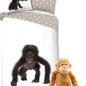 Good Morning Dekbedovertrek Aap met zachte apen knuffel 69 cm -kinder set, 140 x 220 cm, pluche slinger-aap speelgoed