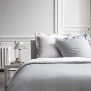 Katoen hotel kwaliteit dekbedovertrek uni grijs/wit 240 x 220