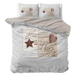 Sleeptime Indulge - Heart Love 2 Dekbedovertrek Katoen - Grijs - 140 x 220