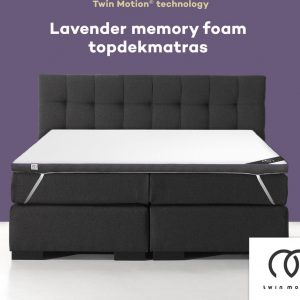 Twin Motion ® Topdekmatras 140x200 - Lavendel - 140x200 cm - 8 cm dik - Topper Lavendel Schuim - Tweepersoons - Twin Motion Technologie