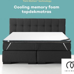 Twin Motion ® Topdekmatras 160x200 - Cooling / Verkoelend Traagschuim - 160x200 cm - 8 cm dik - Topper Cooling Traagschuim - Tweepersoons - Twin Motion Technologie