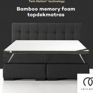Twin Motion ® Topdekmatras 180x200 - Bamboo Traagschuim - 180x200 cm - 8 cm dik - Topper Bamboo Schuim - Tweepersoons - Twin Motion Technologie
