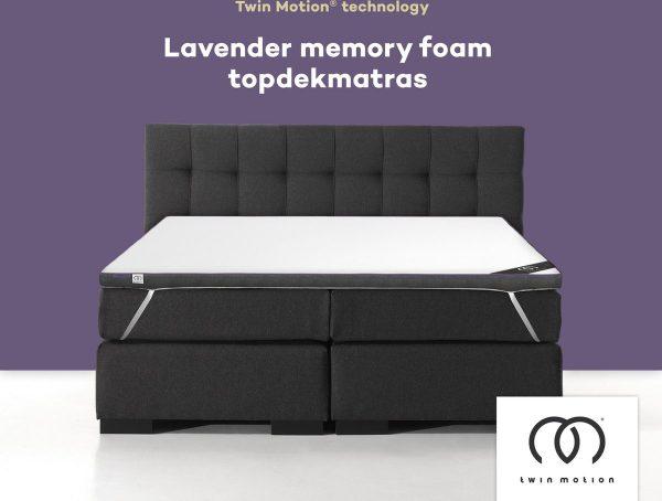 Twin Motion ® Topdekmatras 180x200 - Lavendel - 180x200 cm - 8 cm dik - Topper Lavendel Schuim - Tweepersoons - Twin Motion Technologie