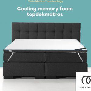 Twin Motion ® Topdekmatras 80x200 - Cooling / Verkoelend Traagschuim - 80x200 cm - 8 cm dik - Topper Cooling Traagschuim - Eenpersoons - Twin Motion Technologie