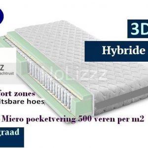 2-Persoons Matras -MICRO POCKET 500 HYBRID 7 ZONE 21 CM - 3D - HARDHEIDSGRAAD (HARD) - 160x200/21