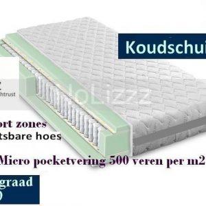 2-Persoons Matras -MICRO POCKET 500 Koudschuim HR45 7 ZONE 21 CM - HARDHEIDSGRAAD (HARD) - 160x200/21