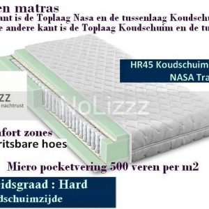 2-Persoons Matras -MICRO POCKET 500 Koudschuim HR45/NASA 7 ZONE 21 CM - HARDHEIDSGRAAD (HARD) - 160x200/21