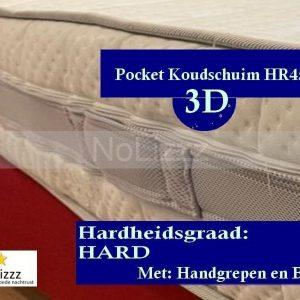 2-Persoons Matras - POCKET HR45 Koudschuim 7 ZONE 21 CM - 3D - Met handgrepen en Biez - HARDHEIDSGRAAD (HARD) - 160x200/21