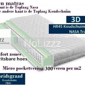 2-Persoons Matras -POCKET HR45/NASA 7 ZONE 21 CM - 3D - HARDHEIDSGRAAD (HARD) - 160x200/21