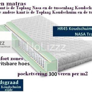 2-Persoons Matras -POCKET Koudschuim HR45/NASA 7 ZONE 21 CM - HARDHEIDSGRAAD (HARD) - 160x200/21
