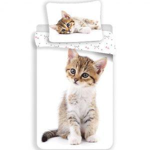 Kitten Dekbedovertrek - Eenpersoons - 140 x 200 cm - Wit