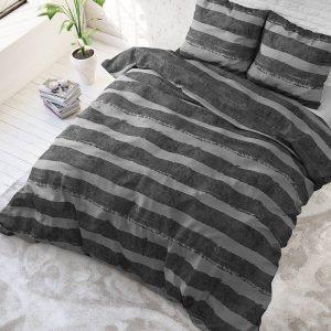Sleeptime Elegance Mari - Antraciet Streep 1-persoons (140 x 220 cm + 1 kussensloop) Dekbedovertrek