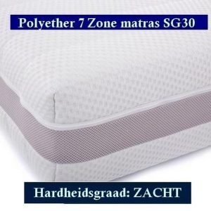 1-Persoons Matras - MICROPOCKET Polyether SG30 7 ZONE 23 CM - 3D - Zacht ligcomfort - 90x200/23
