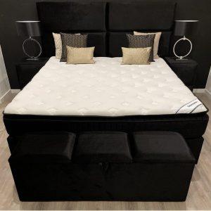 Boxspring New York - 180x220 - Tweepersoons meegestoffeerd matras - geïntergreerde HR50 koudschuim topper - Zwart velours