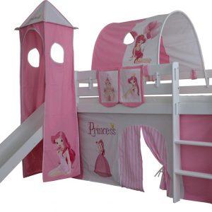 Complete Speeltent met toren en glijbaan Prinses print - Roze zonder bed geleverd