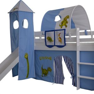 Complete speeltent met toren en glijbaan Dino print - Blauw/Wit zonder bed geleverd