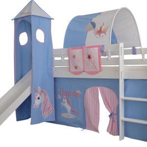 Complete speeltent met toren en glijbaan Eenhoorn print - Roze/Blauw zonder bed geleverd