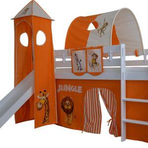 Complete speeltent met toren en glijbaan Jungle print - Oranje zonder bed geleverd
