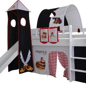 Complete speeltent met toren en glijbaan Piraten print - Zwart/Wit zonder bed geleverd