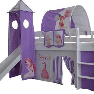 Complete speeltent met toren en glijbaan Prinses print - Paars zonder bed geleverd