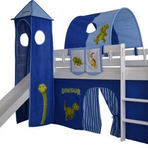 Complete tentconstructie met toren voor bed met glijbaan Dino print - Blauw/donkerblauw