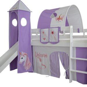 Complete tentconstructie met toren voor bed met glijbaan Eenhoorn print - Paars/Wit