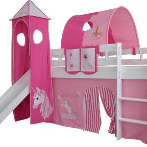 Complete tentconstructie met toren voor bed met glijbaan Eenhoorn print - Roze/Donker Roze