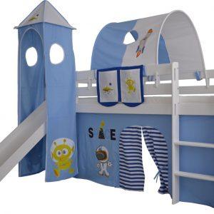 Complete tentconstructie met toren voor bed met glijbaan Space print - Blauw/Wit