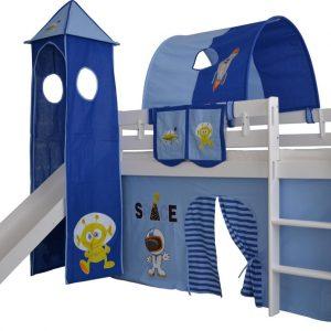 Complete tentconstructie met toren voor bed met glijbaan Space print - donker blauw/licht blauw