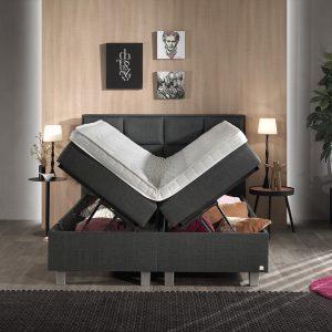 Dreamhouse® Grande Boxspring met Opbergruimte - Bed - 140 x 200 cm - Antraciet