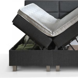 Dreamhouse® Quattro Twijfelaar Boxspring met Opbergruimte - Bed - 140 x 200 cm - Antraciet