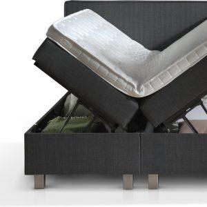 Dreamhouse® Slim Twijfelaar Boxspring met Opbergruimte - Bed - 140 x 200 cm - Antraciet