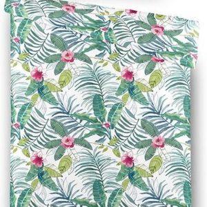 Fresh & Co - Eenpersoons Dekbedovertrek Jungle Flowers 140x220 cm - Katoen - Dekbedovertrek met kussensloop
