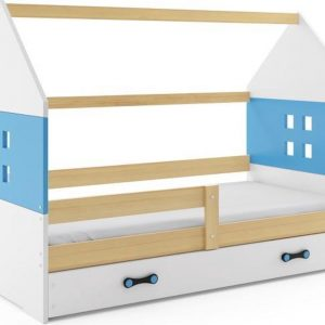 Kinderbed Huisje Hout & Blauw 80x160 cm - Inclusief Uitschuiflade