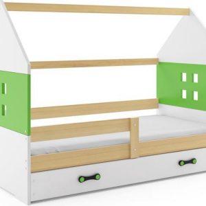 Kinderbed Huisje Hout & Groen 80x160 cm - Inclusief Uitschuiflade