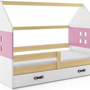 Kinderbed Huisje Hout & Roze 80x160 cm - Inclusief Uitschuiflade