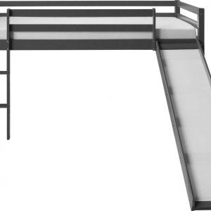 Kinderbed - Tienerbed - Kinderbedden - Peuterbed - Jongens - Meisjes - Modern - Grijs - GrenenHout - 207 cm x 110 cm x 97 cm